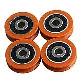 BQLZR Polea de rodamiento para puertas y ventanas (nailon, 29 mm, 4 unidades), color naranja