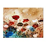 Wieco Art Blooming Poppies Large Colorful Flowers Pictures Paintings on Canvas Wall Art Modern Stretched and Framed Floral Giclee Canvas Prints Artwork for Living Room Bedroom Home Office Decor L