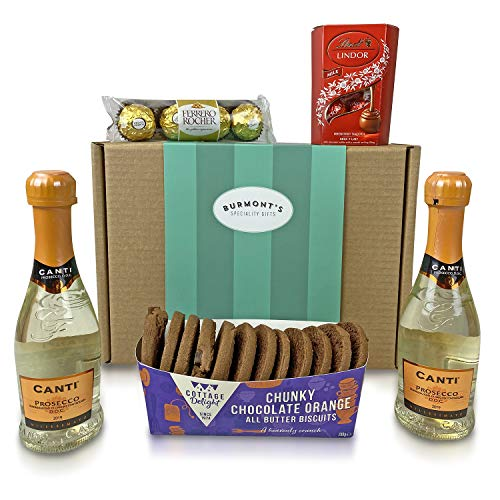 Prosecco & Chocolate Hamper - 2 Small Prosecco, Lindt Lindor Chocolates, Ferrero Rocher & Premium Chocolate Chip Biscuits - Hamper Exclusive To Burmont's