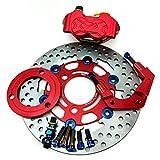 ZMMWDE Bomba de Pinzas de Freno de Motocicleta + Soporte Adaptador de Bomba de Freno de Disco de 220 mm + Disco, para Yamaha Aerox Nitro BWS 100 Jog 50 RR Rojo 220 mm