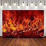 Fondo de fotografía Invierno Chimenea Madera Fuego Llama exuberante ladrillo Fiesta decoración telón de Fondo Estudio fotográfico A5 10x7ft / 3x2,2 m