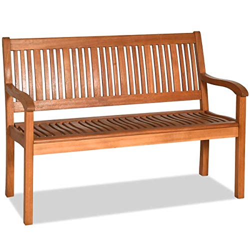 """Tangkula Outdoor Wood Bench, Two Person Solid Wood Garden Bench w/Curved Backrest and Wide Armrest, Large Bench for Patio Porch Poolside Balcony, 50"""" L x 25"""" W x 36"""" H (Natural)"""