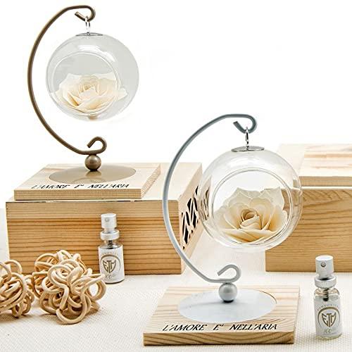 Ingrosso e Risparmio Ambientador con pedestal de metal, esfera de cristal y rosa de hoja de madera, bomboneras originales de boda, con caja de regalo (con paquete de color crema)