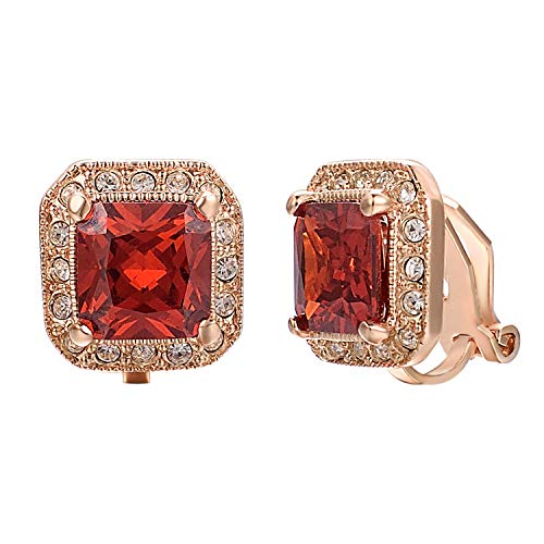 Yoursfs Square Red Clip On Earrings For Women 18ct Rose Gold Plated Wedding Bridal Simulated Ruby Jewellery