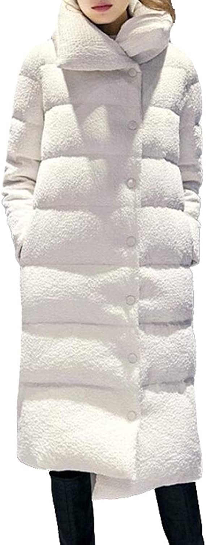 Ouxiuli Women's Lightweight Large Lapel WaterResistant Packable Down Coat