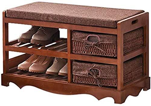 ZouYongKang Banco de zapatos para zapatos de 3 niveles, estante de almacenamiento de entrada tiene hasta 240 libras, organizador de zapatos de bambú, estilo de confort con cojín para la luz del pasill
