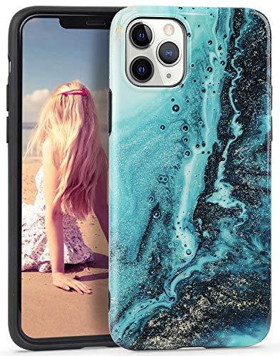 Imikoko Hülle für iPhone 11 Pro Glitzer Marmor Weich Silikon Handyhülle Stein Marble Schlank TPU Bumper Handytasche Flexible Schutzhülle Soft Back Cover Gummi Dünn (Blumen 4)