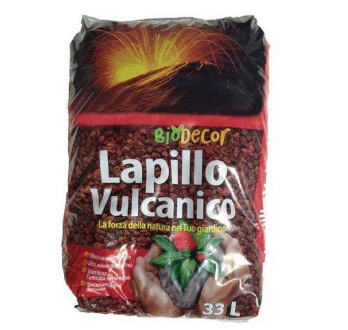 Lapillo vulcanico rosso 10/18 mm sacco 33 lt substrato per piante, pacciamatura