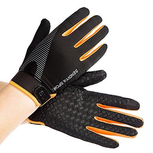 Stonges Sommer Männer und Frauen Ice Silk Dünne Fitnesstraining Voll Finger Handschuhe Bergsteigen Outdoor rutschfeste Sport Atmungs Reiten Handschuhe Orange (orange)