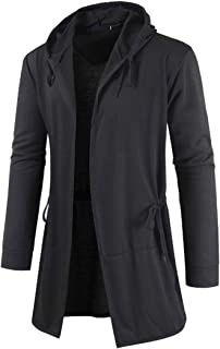Men's Hooded Open Edge Cardigan with A Hood Drawstring Men's Hoodie Solid Color Thin Sweat Jacket Sweatshirt Long Sleeve M...