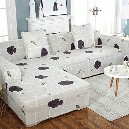 MWPO Funda de sofá en Forma de L Fundas de sofá de Spandex elásticas Funda de sofá seccional en Forma de L Funda de sofá con Espuma Antideslizante y Base elástica en Forma de L 3 + 3 Asientos