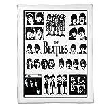 The Beatles Member Black-White Music Fleece Blanket (50x60 Inches)