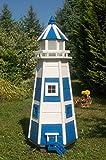 Deko-Shop-Hannusch Wunderschöner großer Leuchtturm aus Holz mit LED Beleuchtung 1,10m blau/weiß