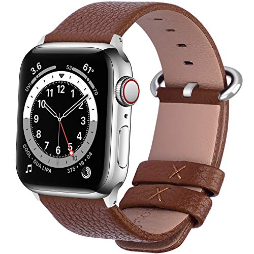 Fullmosa Compatible Apple Watch Strap 42mm 38mm 40mm 44mm Calf Leather Compatible iWatch Band/Strap Compatible Apple Watch Series SE 6 5 4 3 2 1, 42mm 44mm Brown (Watch Not Included)