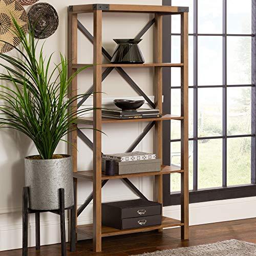 Walker Edison Furniture Company Modern Farmhouse Wood Bookcase Bookshelf Home Office Living Room Storage, 4 Shelf, Reclaimed Barnwood