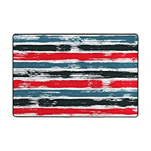 "My Little Nest Red Black Stripe Kids Play Mat Baby Crawling Carpet Non Slip Soft Area Rug for Living Room Bedroom Dining Room Classroom Floor Mat Lightweight 4'10"" x 6'8″"