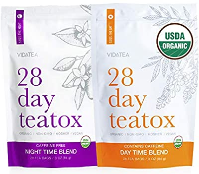 Vida Tea 28 Day and Night Organic Detox Tea - All Natural Healthy Herbal Tea Supplement for a Colon Cleanse, Liver, and Stomach Digestion, Weight Loss, and Energy -56 Servings from Vida Essentials