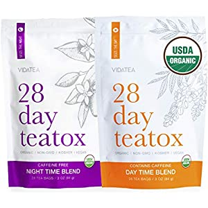 Detox products Vida Tea 28 Day and Night Organic Detox Tea – All Natural Healthy Herbal Tea