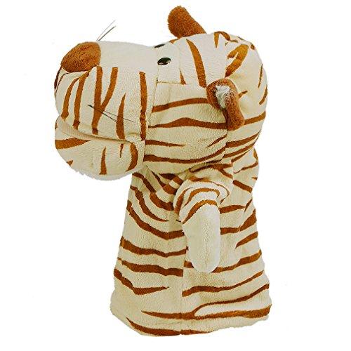 Bigood Marionnette à Doigt Main Bébé Enfant Velours Jouet Peluche Animaux Tigre Marron