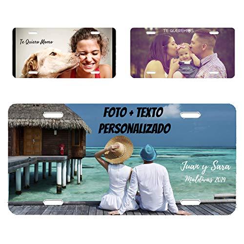 RecontraMago Matriculas Decorativas Personalizadas - Placas Decorativas Personalizada con tu Foto Nombre y Texto Que Quieras - 30.6 x 15.4 cm High dpi Impresión -
