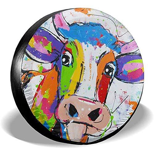 MOLLUDY 15 Zoll, Reifendecken Bunte Kuh Reserveradabdeckung Sonnenschutz Wasserdichte Radabdeckung Universell Passend für viele Fahrzeugraddurchmesser