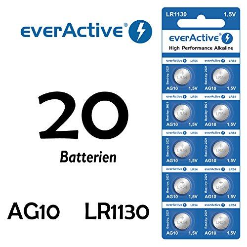 NEMT 20 X Everactive AG10 LR 54 - LR1130 - L1131 - 189 Knopfzelle Uhrenbatterie 1,5 V