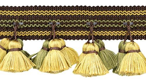 DecoPro Tassel Frange à Franges Marron Moka, Vert Olive, doré 64 mm Collection Basic Trim - Style #‿TFAR025- Couleur : Balsom-AR04, Vendu au Yard (91 cm / 91 cm)