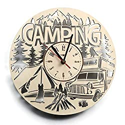 ShareArt Camping Summer Camp Silent Wood Wall Clock - Original Home Office Living Room Bedroom Kitchen Decor - Best Birthday Gift for Friends Men Woman - Unique Wall Art Design - Size 12 Inch