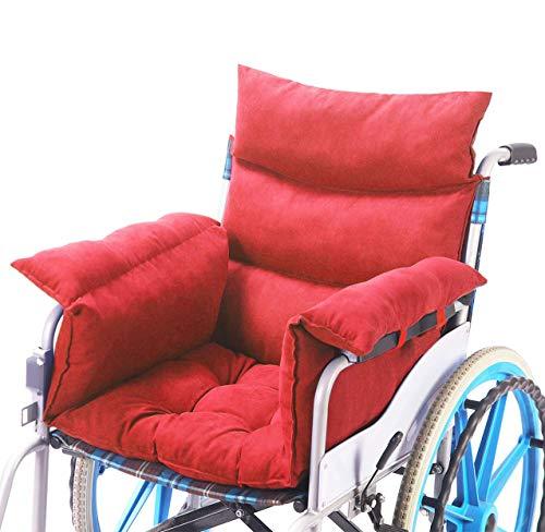 Rollstuhlkissen Rollstuhlkissen mit Rücken- und Seitenteil, Ouding Komfortkissen Sitzkissen für Rollstuhl Bürostuhl Esszimmerstühle Sofa Gartenbank, Anti-Dekubitus, Weinrot
