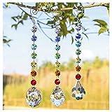 H&D Glas Kristall Oval Prism Rainbow Maker Chakra Aufhängen Suncatcher Sonne cacther mit Ocatgon Perlen für Geschenk, 3 Stück