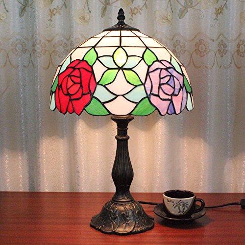 Home Déco Outlets 12 inch vintage pastoral rozen en bladeren gekleurd glas stijl tafellamp slaapkamer lamp nachtkastje lamp