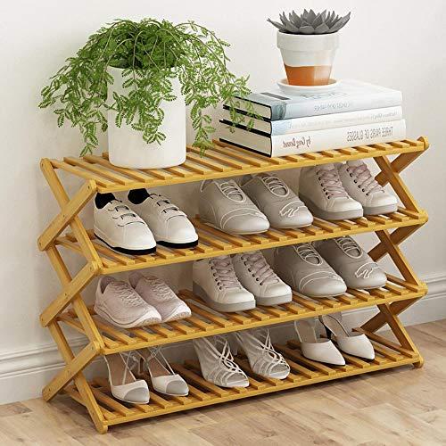 Estante de zapatos de bamb¨² natural de 4 capas Soporte de exhibici¨®n...