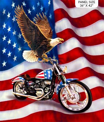 Liberty Ride Eagle On A Motorcycle Cotton Fabric Northcott DP21310-44