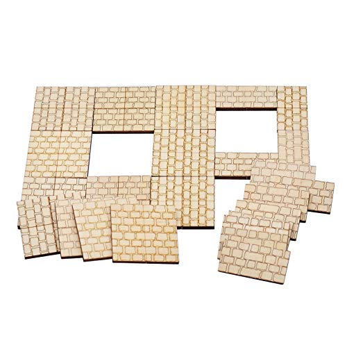 Dungeon Stone Square Floor Tiles (Set of 24) Wooden Laser Cut Modular Terrain 1' Grid Perfect for D&D, Dungeons & Dragons, Pathfinder and Other Tabletop RPG