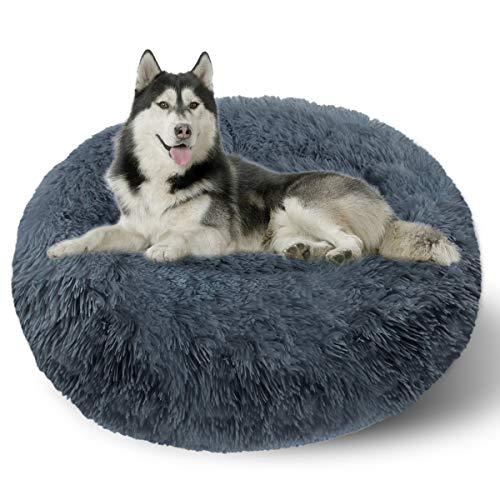 ETACCU Cama Redonda de Felpa para Gatos, casa para Perros, Cama para Mascotas, Cama para Mascotas pequeña con Forma de rosquilla Suave y cómoda 50 /60 / 70CM (70cm, Gris Oscuro)