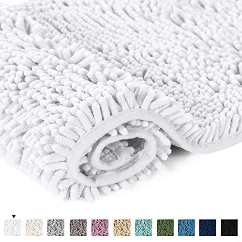 Pure White Bath Rug Super Soft Microfiber Non Slip Mat Absorption Shaggy Shower Rugs for Bathroom, Easy Care Machine Wash, 20 x 32 Inch