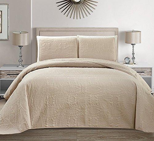 Linen Plus Collection 3-teiliges Tagesdecken-Set für Doppelbett / Queensize-Bett, geprägt, 269,2 x 254 cm, Beige / Khaki