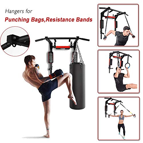 ANTOPY Multifunctional Pull Up Bar Wall Mount Dip Station Home Gym Workout Power Tower Set Training Equipment Heavy Duty Dip Stand for Fitness Max 440lbs