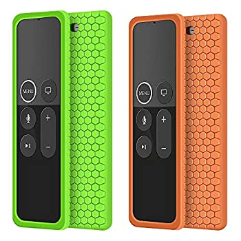 2 Pack Remote Case for Apple TV 4K 4th 5th Generation Protective Silicone Cover Lightweight [Anti Slip] Shock Proof Skin Holder for New Apple TV 4K 5th Siri Remote Controller-Green,Orange