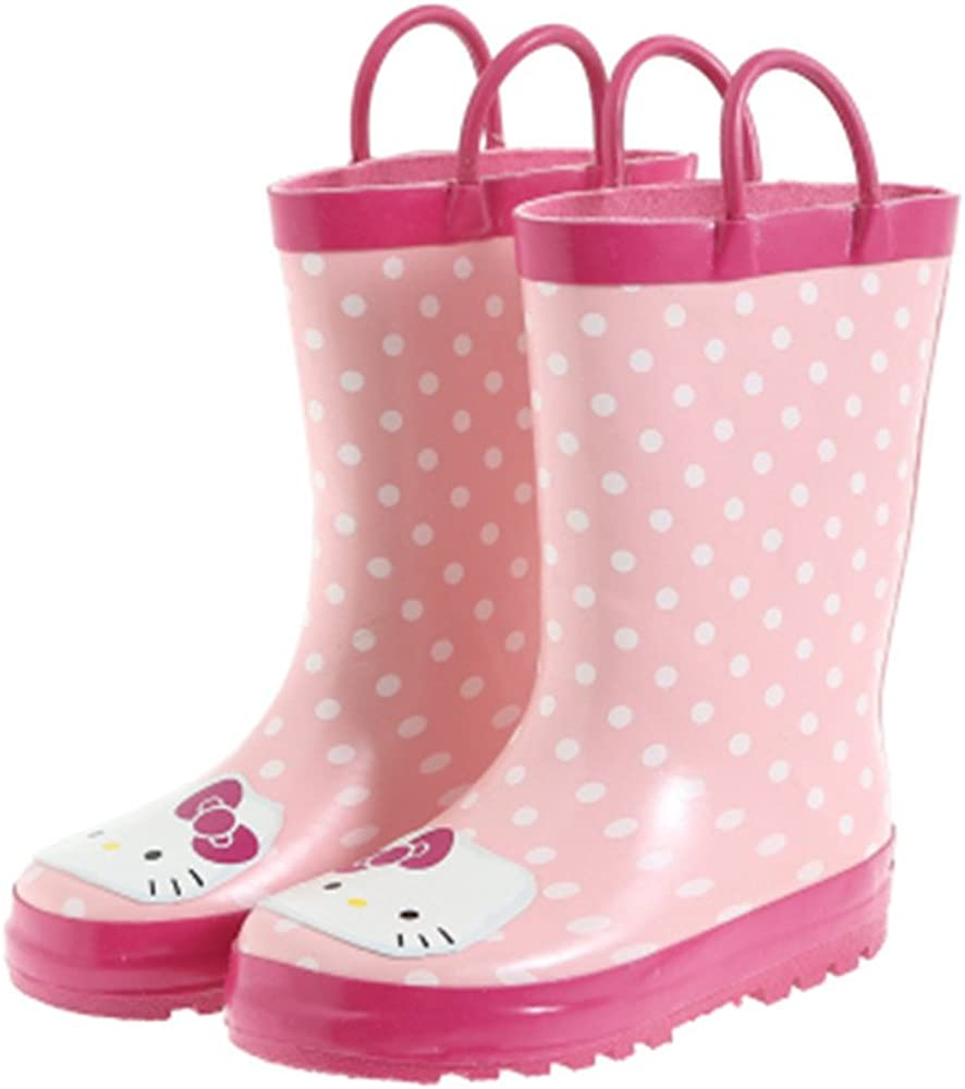 Kids Girls Hello Kitty Printed Waterproof Easy-On Rubber Rain Boots (Toddler/Little Kid)