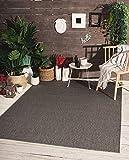 Mia´s Teppiche Lara - Alfombra de Tejido Plano para Interior y Exterior, Resistente a los Rayos UV y a la Intemperie, Color Antracita, 80 x 200 cm, 100% Polipropileno, 80 x 200 cm