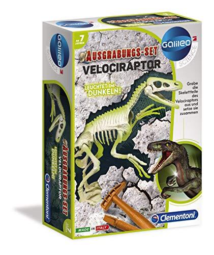 Clementoni Galileo Science 59174 - Kit de excavación Velociraptor, Juguete para niños a Partir de 7 años, excavación de cossillos Dinosaurio con Martillo y cincel para pequeños investigadores