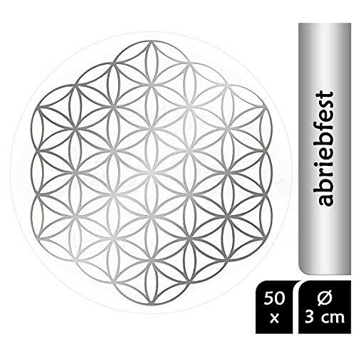 atalantes spirit Blume des Lebens Aufkleber Abriebfest - Farbe Silber, 3cm, 50 Stück - ohne Außenkreise - Folie durchsichtig Sticker