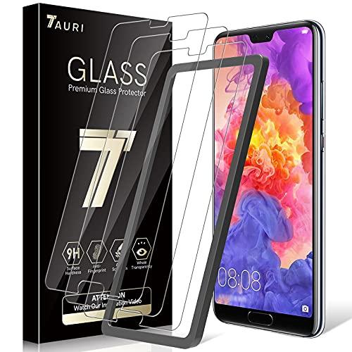 TAURI Protector de Pantalla para Huawei P20 Pro [3 Piezas] [Instalación fácil del Marco de alineación] [2.5D Borde] [9H Dureza] Vidrio Templado, [entrega aleatoria de paquete nuevo / viejo]