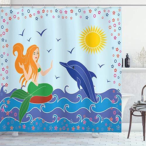 N \ A Unterwasser-Duschvorhang, Delfin & Meerjungfrau Mädchen auf dem Meer, blaue Wellen bunte Sommerzeitzeichnung, Stoffstoff, Badezimmer-Dekor-Set mit Haken, 183 x 183 cm, grün-gelb