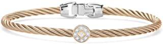 ALOR Carnation Cable Essential Stackable Bracelet with Single Round Diamond Station Set in 18kt Rose Gold
