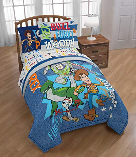 Disney Toy Story 4: Woody, Buzz & Forky Boys Kids Twin Comforter & Sheets (5 Piece Set) + Homemade Wax Melts