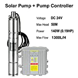 ZHFEISY DC 24/36V Solar Water Pump w/MPPT Controller - Submersible Pump Deep Well Pumps Power DC Pump Motor Solor Powered Water Pump (DC 24V-140W / 1300L/H 50M)