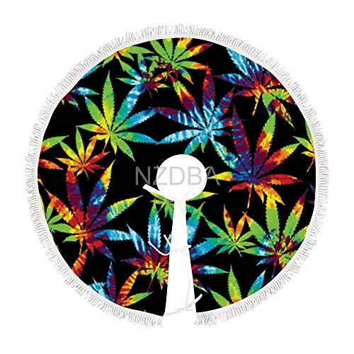 NZDBA Rainbow Dye Weed Leaves Christmas Tree Skirt Mat Holiday Unique New Year Party Home Indoor Outdoor Decoration
