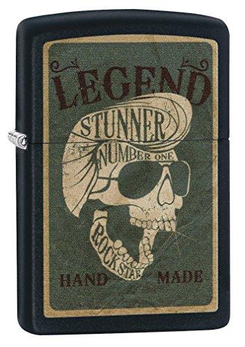 Zippo Taschenfeuerzeug Legendary Skull Design, Winddicht, Einheitsgröße, Schwarz matt